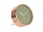 Alarm clock Minimal jungle green w. copper case
