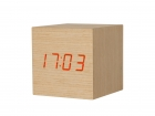 Alarm clock Cube Pure elm wood small