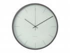 Wall clock Mist misty grey w. wooden case