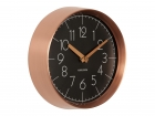 Wall clock Convex black, copper case