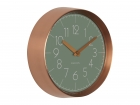 Wall clock Convex jungle green, copper case