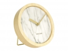 Wall / Table clock Plug marble white, wooden case
