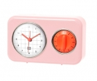 Clock with kitchen timer Nostalgia powdery pink