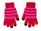 iTouch gloves XOXO red w. pink stripes