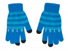 iTouch gloves YOLO blue w. aqua blue stripes