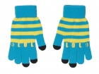 iTouch gloves LOL aqua blue w. yellow stripes