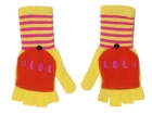 Flap gloves LOL yellow w. pink & orange
