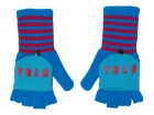 Flap gloves YOLO blue w. red & aqua blue